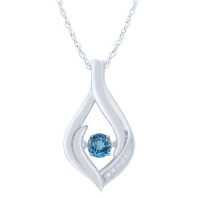 Womens Genuine Blue Topaz Sterling Silver Round Pendant
