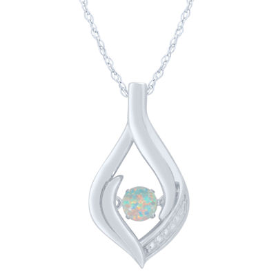 Womens Lab Created White Opal Sterling Silver Round Pendant
