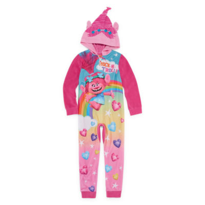 Trolls Long Sleeve One Piece Pajama-Big Kid Girls