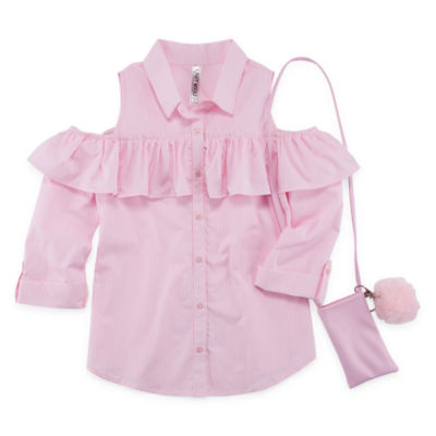 Beautees 3/4 Sleeve Button-Front Shirt Girls