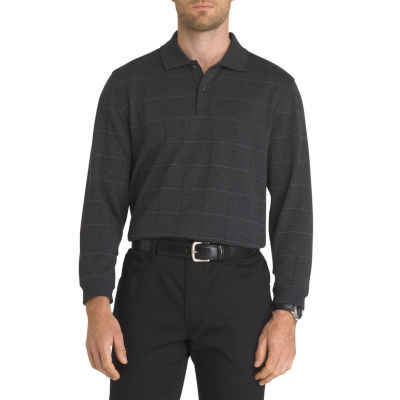 Van Heusen Long Sleeve Jaspe Windowpane Flex Polo