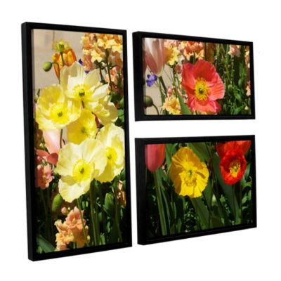 Brushstone Yellow Flowers 3-pc. Flag Floater Framed Canvas Wall Art