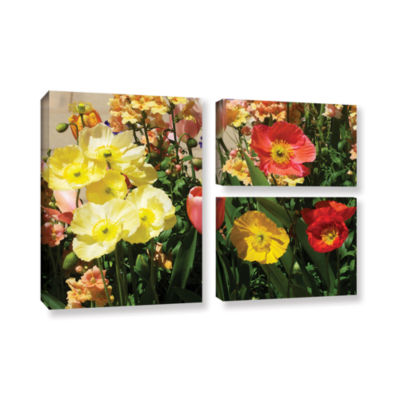 Brushstone Yellow Flowers 3-pc. Flag Gallery Wrapped Canvas Wall Art
