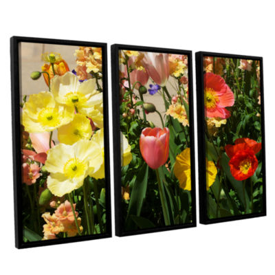Brushstone Yellow Flowers 3-pc. Floater Framed Canvas Wall Art