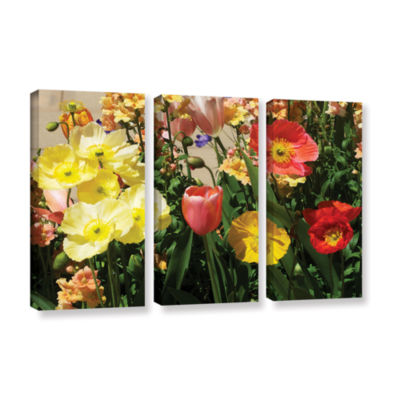 Brushstone Yellow Flowers 3-pc. Gallery Wrapped Canvas Wall Art