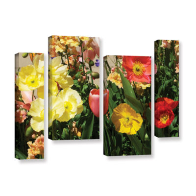 Brushstone Yellow Flowers 4-pc. Gallery Wrapped Staggered Canvas Wall Art