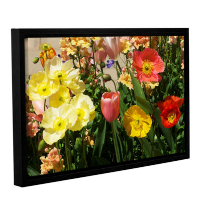 Brushstone Yellow Flowers Gallery Wrapped Floater-Framed Canvas Wall Art