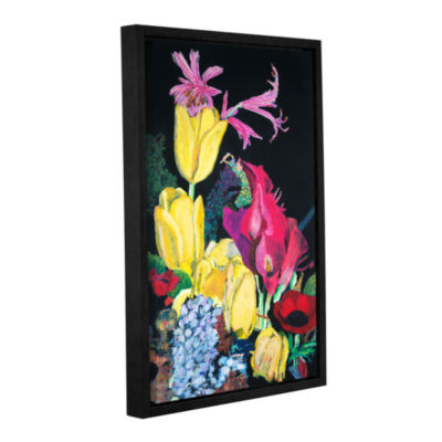 Brushstone Yellow Tulips Gallery Wrapped Floater-Framed Canvas Wall Art