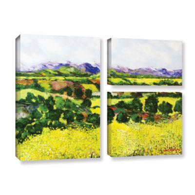 Brushstone Yellow Weeds 3-pc. Flag Gallery WrappedCanvas Wall Art