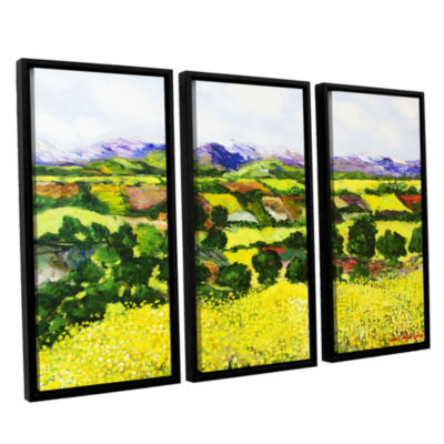 Brushstone Yellow Weeds 3-pc. Floater Framed Canvas Wall Art