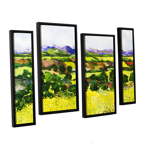 Brushstone Yellow Weeds 4-pc. Floater Framed Staggered Canvas Wall Art