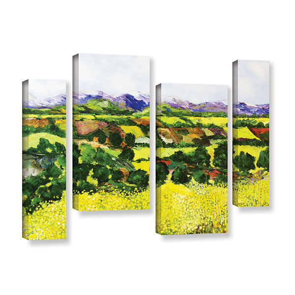 Brushstone Yellow Weeds 4-pc. Gallery Wrapped Staggered Canvas Wall Art