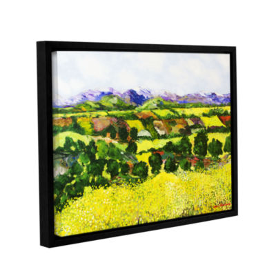 Brushstone Yellow Weeds Gallery Wrapped Floater-Framed Canvas Wall Art