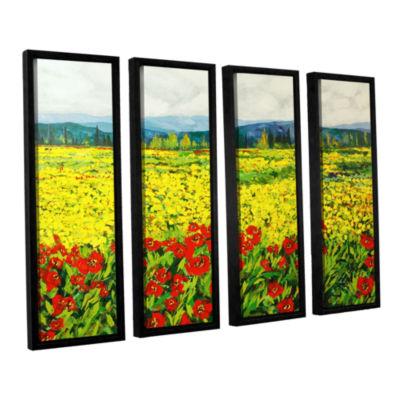 Brushstone Zone De Fleurs 4-pc. Floater Framed Canvas Wall Art