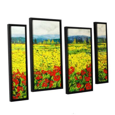 Brushstone Zone De Fleurs 4-pc. Floater Framed Staggered Canvas Wall Art