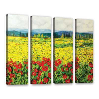 Brushstone Zone De Fleurs 4-pc. Gallery Wrapped Canvas Wall Art