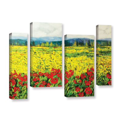 Brushstone Zone De Fleurs 4-pc. Gallery Wrapped Staggered Canvas Wall Art
