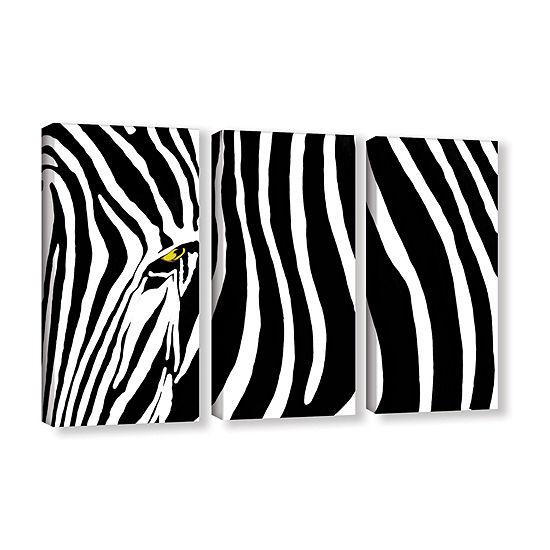 Brushstone Zebra Stripes 3 Pc Gallery Wrapped Canvas Wall Art