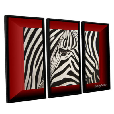 Brushstone Zebras Abstract 3-pc. Floater Framed Canvas Wall Art