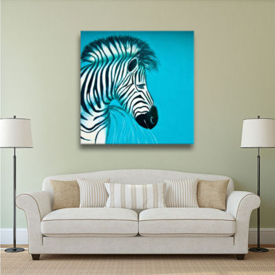 Brushstone Zebras Blue Gallery Wrapped Canvas WallArt
