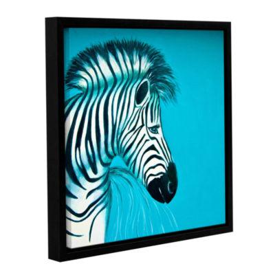 Brushstone Zebras Blue Gallery Wrapped Floater-Framed Canvas Wall Art