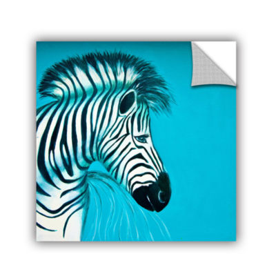 Brushstone Zebras Blue Removable Wall Decal