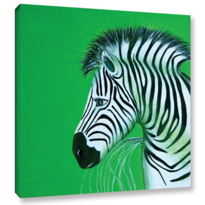 Brushstone Zebras Green Gallery Wrapped Canvas Wall Art
