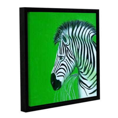 Brushstone Zebras Green Gallery Wrapped Floater-Framed Canvas Wall Art