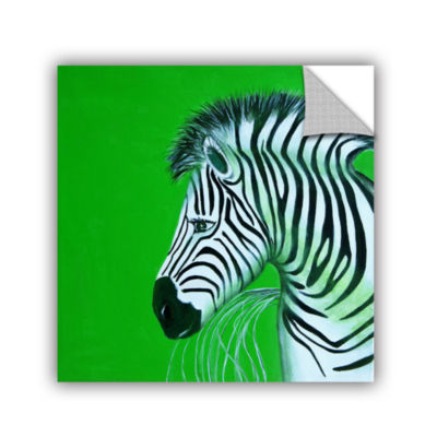 Brushstone Zebras Green Removable Wall Decal