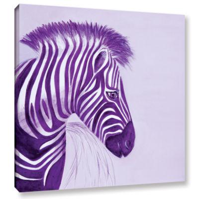 Brushstone Zebras Purple Gallery Wrapped Canvas Wall Art