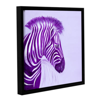 Brushstone Zebras Purple Gallery Wrapped Floater-Framed Canvas Wall Art
