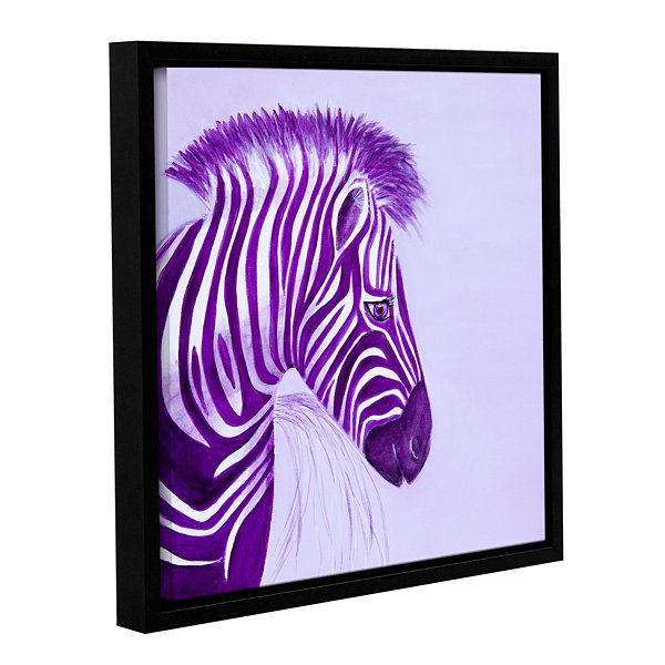 Brushstone Zebras Purple Gallery Wrapped Floater-Framed Canvas Wall Art