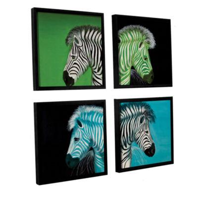 Brushstone Zebras Blue Green 4-pc. Square FloaterFramed Canvas Wall Art