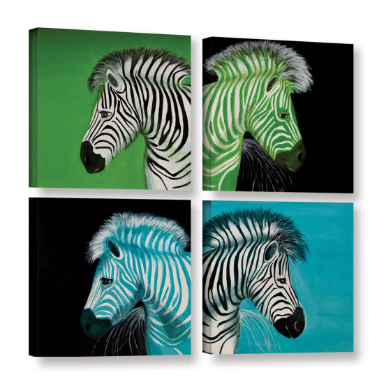 Brushstone Zebras Blue Green 4-pc. Square GalleryWrapped Canvas Wall Art