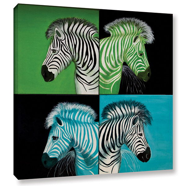 Brushstone Zebras Blue Green Gallery Wrapped Canvas Wall Art