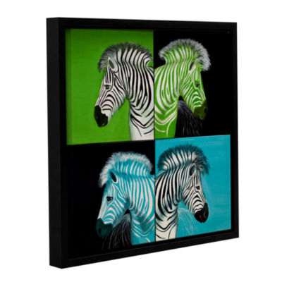 Brushstone Zebras Blue Green Gallery Wrapped Floater-Framed Canvas Wall Art