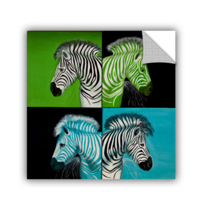 Brushstone Zebras Blue Green Removable Wall Decal