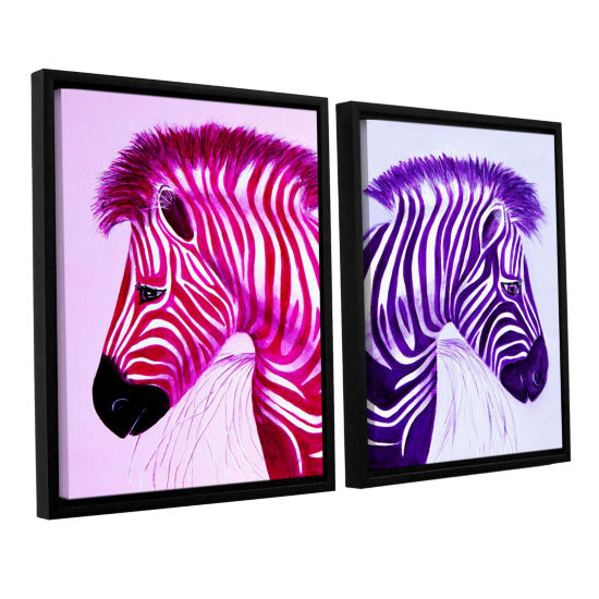 Brushstone Zebras Pink Purple 2-pc. Floater FramedCanvas Wall Art