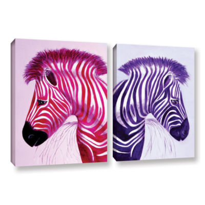 Brushstone Zebras Pink Purple 2-pc. Gallery Wrapped Canvas Wall Art