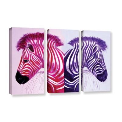 Brushstone Zebras Pink Purple 3-pc. Gallery Wrapped Canvas Wall Art