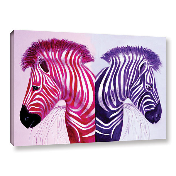 Brushstone Zebras Pink Purple Gallery Wrapped Canvas Wall Art