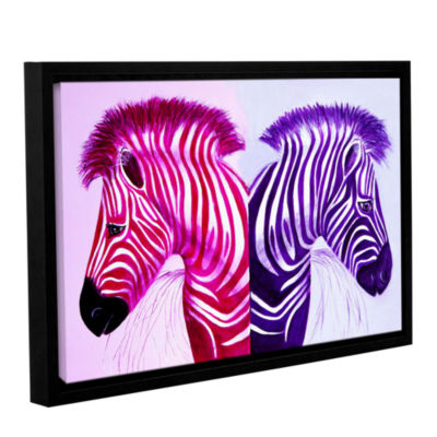 Brushstone Zebras Pink Purple Gallery Wrapped Floater-Framed Canvas Wall Art