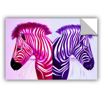 Brushstone Zebras Pink Purple Removable Wall Decal