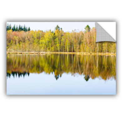 Brushstone Yellow Lake Trees Removable Wall Decal