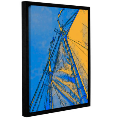 Brushstone Yellow Sails At Sea Gallery Wrapped Floater-Framed Canvas Wall Art