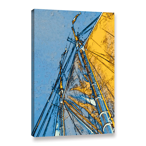 Brushstone Yellow Sails At Sea Gallery Wrapped Canvas Wall Art