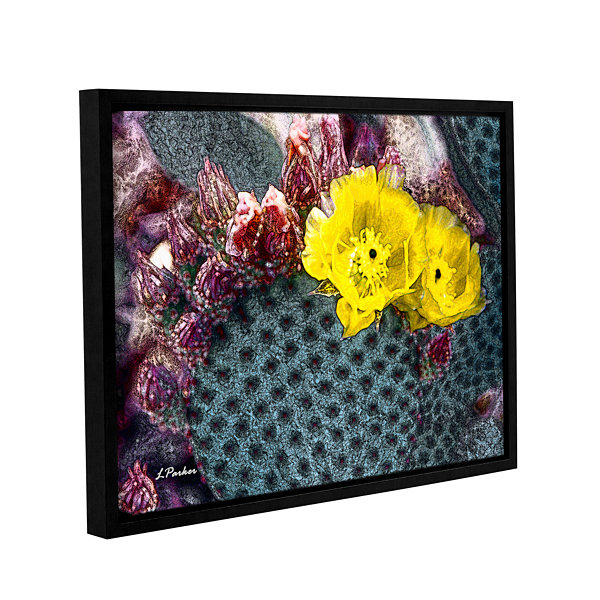 Brushstone Yellow Desert Blooms Gallery Wrapped Floater-Framed Canvas Wall Art