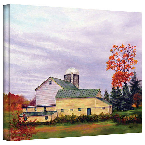 Brushstone Yellow Barn Gallery Wrapped Canvas Wall Art