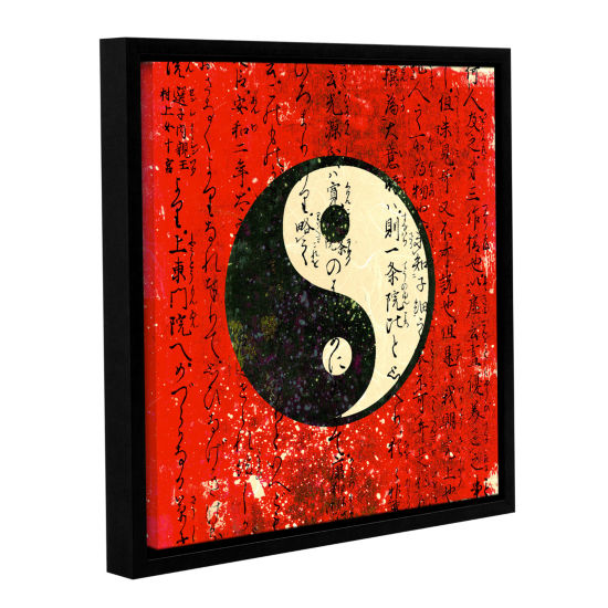 Brushstone Yin Yang Gallery Wrapped Floater-FramedCanvas Wall Art