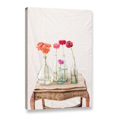 Brushstone Zinnia Flowers Gallery Wrapped Canvas Wall Art